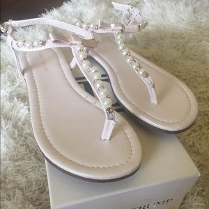 387c7240b517 Ivanka Trump pearl and rhinestone thong sandals.
